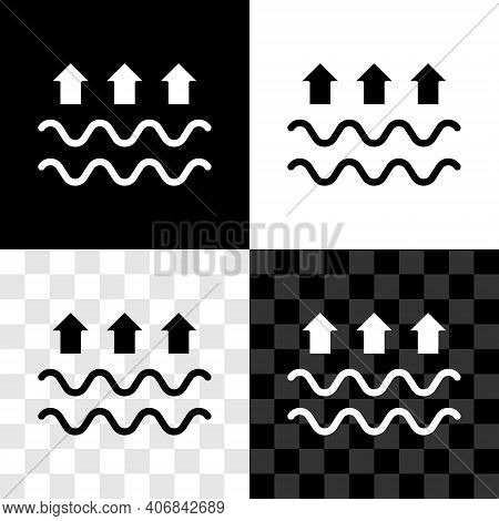 Set Waves Of Water And Evaporation Icon Isolated On Black And White, Transparent Background. Vector