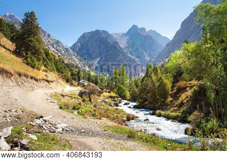 The Natural Landscape Of Mountains In Tajikistan On A Sunny Bright Day. Amazing View On Fann Mountai