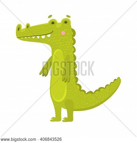 Toy Crocodile Flat Vector Illustration. Children S Toy, Printing On Children S Educational Toys And