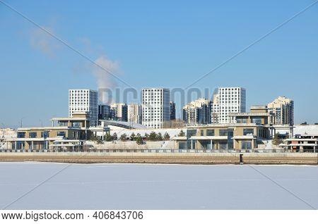 Kazan, Russia - February 2, 2021. View Of The Right Bank Of The Kazanka River. Winter Urban Landscap