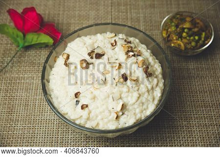 Kheer Or Rice Pudding Is An Nepali Indian Dessert. Rice Kheer Is A Pudding From Indian Subcontinent,