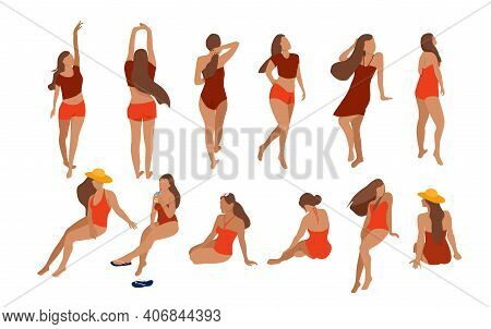 Set Of Trendy Young Women In Swimwear.beach Collection.females In Different Poses.girls Walk,sunbath