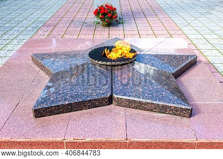 Borovichi, Russia - September 14, 2020: Eternal Flame In Memory Of The Victory In The Great Patrioti
