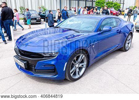 Samara, Russia - May 19, 2018: Blue Chevrolet Vehicle At The City Street