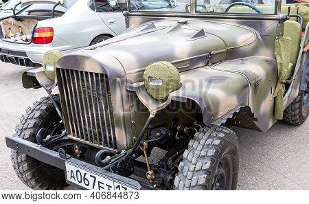 Samara, Russia - May 19, 2018: Soviet Vintage Offroad Military Command Car Gaz-67