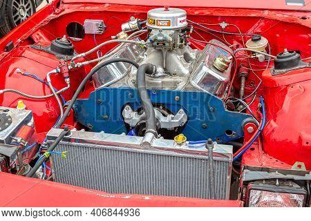 Samara, Russia - May 19, 2018: Chevrolet Camaro Vehicle With Tuned Turbo Car Engine, Under The Hood
