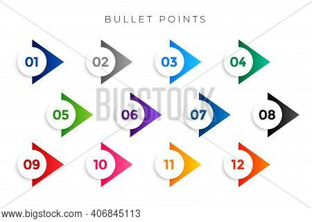 Stylish Arrow Bullet Points Numbers From One To Twelve