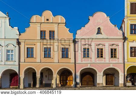 Pastel Colors Of Historic Houses At The Market Square Of Telc, Czech Republic