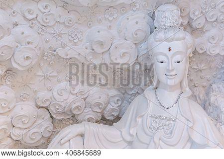 Beautiful White Guan Yin Statue At Huay Pla Kang Temple, Chiang Rai, Thailand.