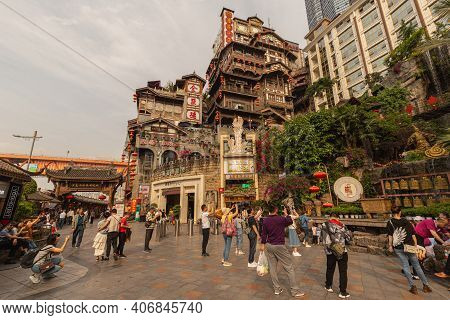 Chongqing, China - May 10, 2019 : Hongya Cave Cultural Centre. Hongya Cave Touristic Area In Yuzhong