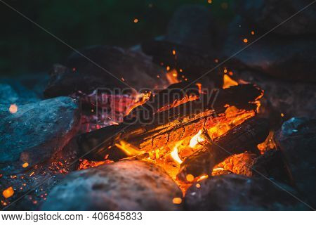 Vivid Smoldered Firewoods Burned In Fire Close-up. Atmospheric Background With Orange Flame Of Campf