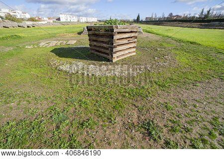 Meta Prima Of Imperial City Circus Of Emerita Augusta, Merida, Spain. One Of The Largest Of Roman Em