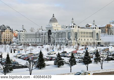 Kazan, Russia - February 2, 2021. The Farmers\' Palace Is A Building In The Historical Center Of Kaz