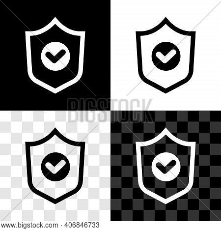Set Shield With Check Mark Icon Isolated On Black And White, Transparent Background. Protection Symb