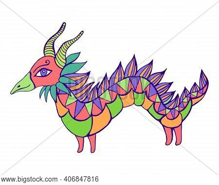 Cartoon Mythical Bright Dragon, Isolated In White. Beautiful Doodle Style Character Little Dragon, F