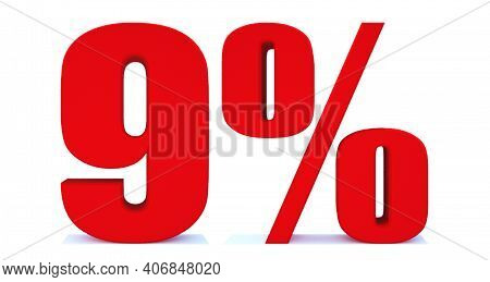 9 Percent Off 3d Sign On White Background, Special Offer 9% Discount Tag, Sale Up To 9 Percent Off,b