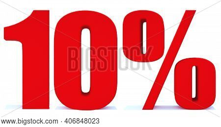 10 Percent Off 3d Sign On White Background, Special Offer 10% Discount Tag, Sale Up To 10 Percent Of