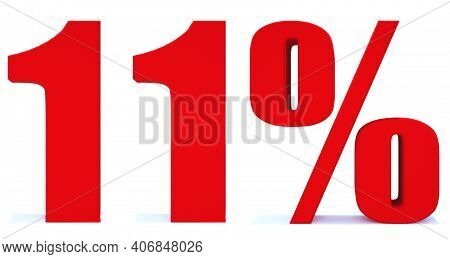 11 Percent Off 3d Sign On White Background, Special Offer 11% Discount Tag, Sale Up To 11 Percent Of