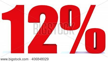 12 Percent Off 3d Sign On White Background, Special Offer 12% Discount Tag, Sale Up To 12 Percent Of