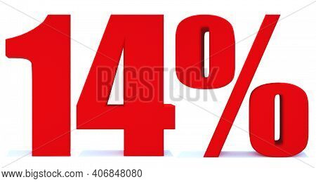 14 Percent Off 3d Sign On White Background, Special Offer 14% Discount Tag, Sale Up To 14 Percent Of