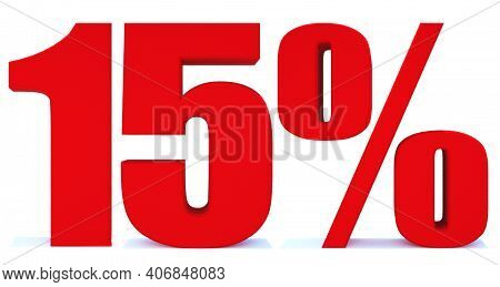 15 Percent Off 3d Sign On White Background, Special Offer 15% Discount Tag, Sale Up To 15 Percent Of