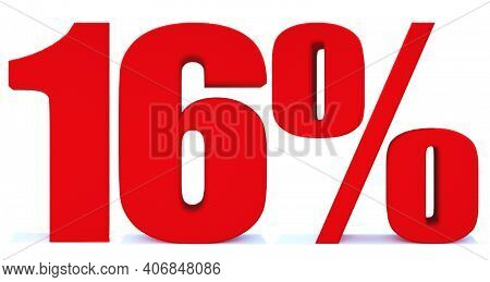 16 Percent Off 3d Sign On White Background, Special Offer 16% Discount Tag, Sale Up To 16 Percent Of