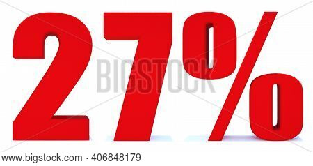 27 Percent Off 3d Sign On White Background, Special Offer 27% Discount Tag, Sale Up To 27 Percent Of