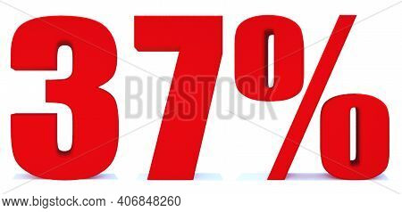 37 Percent Off 3d Sign On White Background, Special Offer 37% Discount Tag, Sale Up To 37 Percent Of