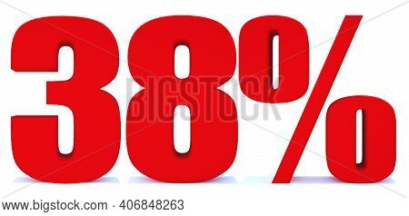 38 Percent Off 3d Sign On White Background, Special Offer 38% Discount Tag, Sale Up To 38 Percent Of
