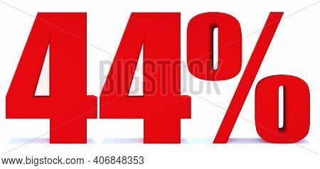 44 Percent Off 3d Sign On White Background, Special Offer 44% Discount Tag, Sale Up To 4 Percent Off