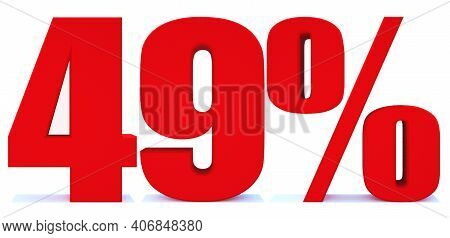49 Percent Off 3d Sign On White Background, Special Offer 49% Discount Tag, Sale Up To 49 Percent Of