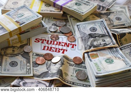 Student Loan Debt Concept With Borrowed Money For College Accumulating Crazy Compound Interest From