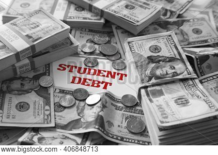 College Student Loan Debt Concept In Black And White High Quality