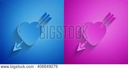 Paper Cut Amour Symbol With Heart And Arrow Icon Isolated On Blue And Purple Background. Love Sign.