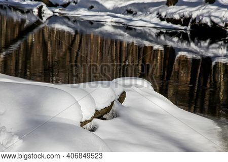Winter background from outdoor landscape near river