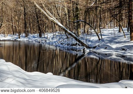 Winter background from  landscape near river