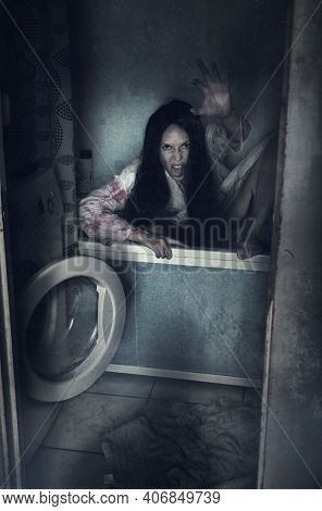 Walking Dead Zombie Woman In Bathroom Into Bath