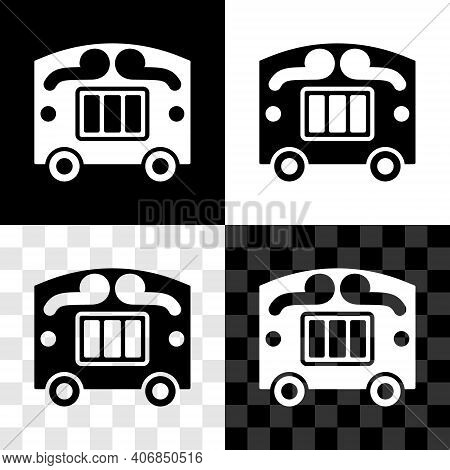 Set Circus Wagon Icon Isolated On Black And White, Transparent Background. Circus Trailer, Wagon Whe