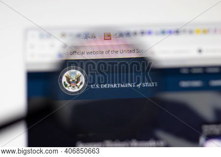 Los Angeles, Usa - 1 February 2021: Us Department Of State Website Page. State.gov Logo On Display S