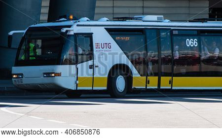 July 2, 2019 Moscow, Russia. Passenger Bus At Vnukovo Airport