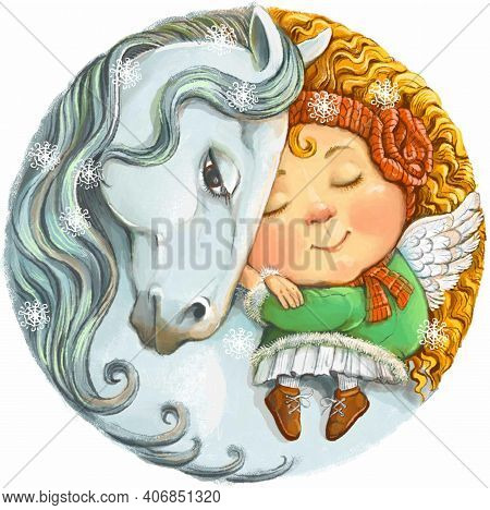 Colorful Illustration Of A Round Shape. A Cute Little Ginger Angel Is Sleeping Peacefully On The Bac