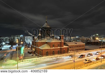 Kazan, Russia - January 20, 2021. Pokrovsky Cathedral - The Main Church Of The Russian Orthodox Old