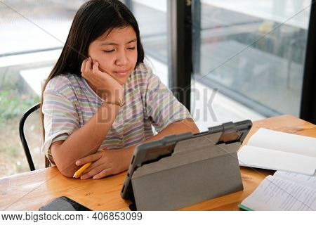 Girl Student Studying Learning Lesson Online. Remote Meeting Distance Education At Home