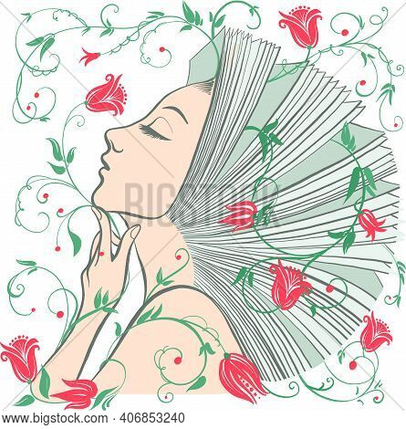 Vector Illustration Of Philosophy, Symbol Of Life, Female Psychology. A Woman Is Like An Open Book.