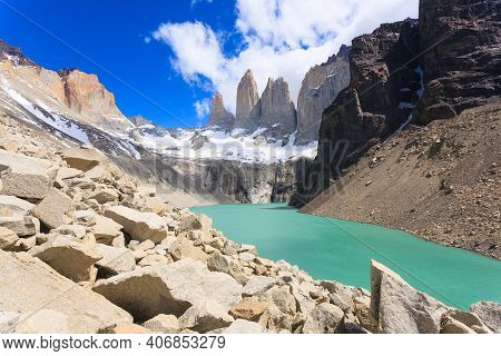 Torres Del Paine National Park View, Chile. Chilean Patagonia Landscape. Base Las Torres Viewpoint