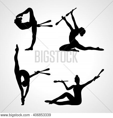 Creative Silhouettes Of 4 Gymnastic Girl With Clubs. Art Gymnastics Or Ballet Dancing Women, Vector