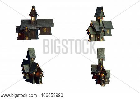Black Castle Isolated On White Backgroung With Clipping Path, 3d Illustration Rendering