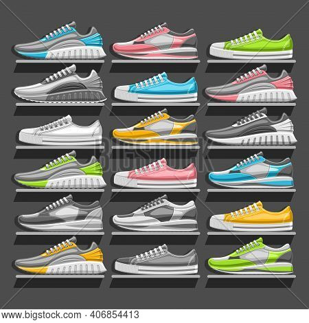Vector Sneakers Set, 18 Cut Out Illustrations Of Various Multi Colored, Black And White Sports And U