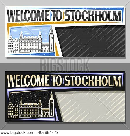 Vector Layouts For Stockholm With Copy Space, Decorative Voucher With Line Illustration Of Stockholm