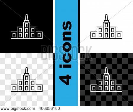 Set Line City Landscape Icon Isolated On Black And White, Transparent Background. Metropolis Archite